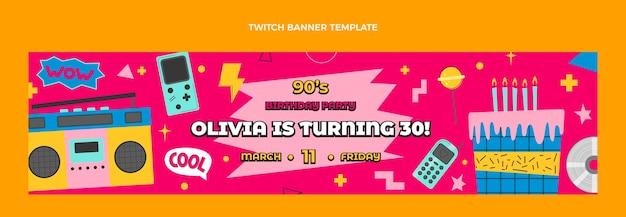 Handgezeichnetes 90er geburtstags-twitch-banner