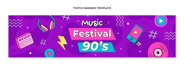 Handgezeichnetes 90er jahre musikfestival zuckendes banner