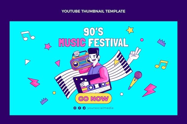 Handgezeichnetes 90er jahre nostalgisches musikfestival youtube thumbnail