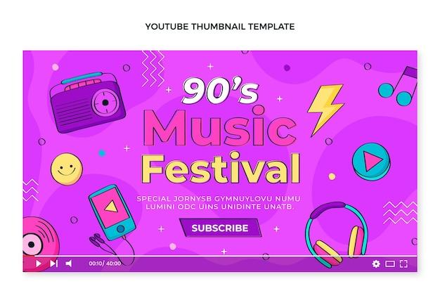 Handgezeichnetes 90er musikfestival youtube miniaturbild