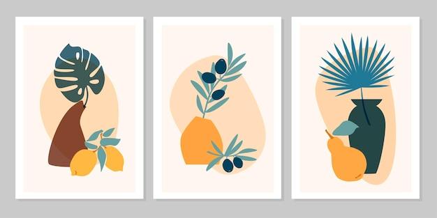 Handgezeichnetes abstraktes boho-poster mit tropischem blatt, farbvase, früchte auf beigem hintergrund. flache vektorgrafik. design für muster, logo, poster, einladung, grußkarte