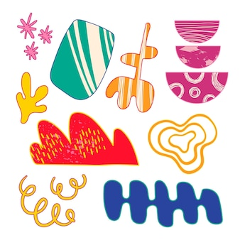 Handgezeichnetes abstraktes formenpaket