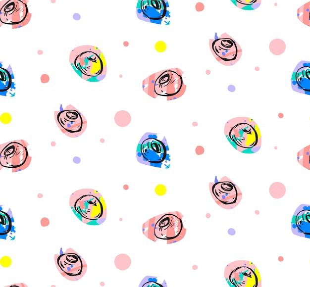 Handgezeichnetes abstraktes heidelbeerfrisches nahtloses muster mit tupfenmotiv in hellen und pastellfarben auf weißem hintergrund. dekoration für business, shop, mode, journaling.