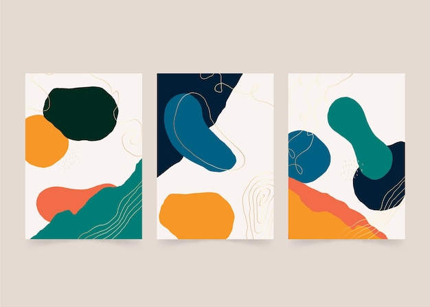 Handgezeichnetes abstraktes kunst-cover-set