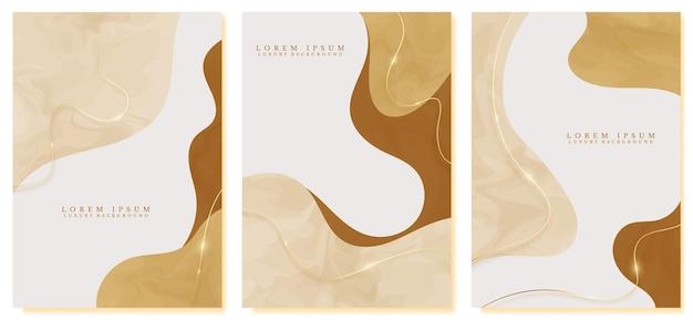 Handgezeichnetes abstraktes luxus-cover-design mit goldenen linien funkeln auf gelbem pastellhintergrund. modernes konzept des minimalen trends. vektor-illustration.
