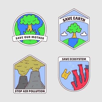 Handgezeichnetes abzeichenpaket zum klimawandel