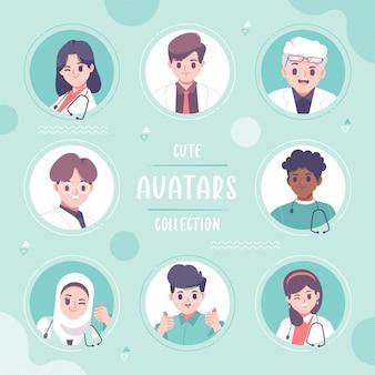 Handgezeichnetes apotheker-avatar-sammlungsdesign