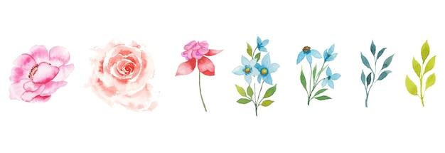 Handgezeichnetes aquarell blumenkunst-set