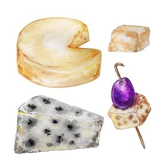Handgezeichnetes aquarell isoliert verschiedene käsesorten in verschiedenen formen und größen