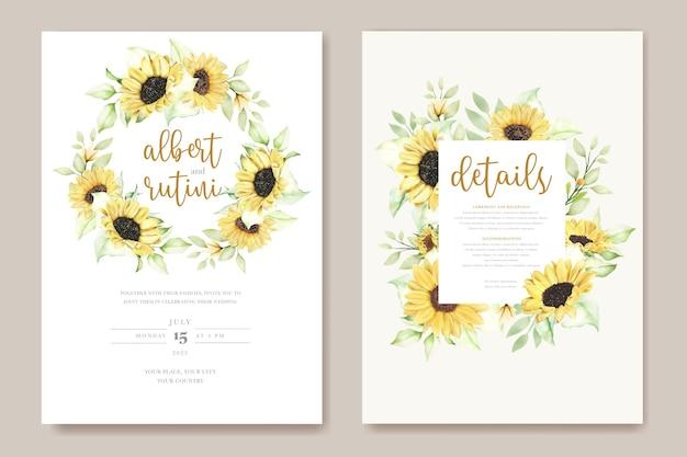 Handgezeichnetes aquarell sonnenblumenhochzeitskartenset