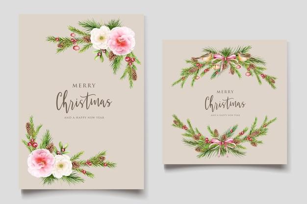 Handgezeichnetes aquarell weihnachten blumen und blätter