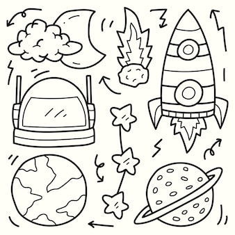 Handgezeichnetes astronautengekritzelkarikaturillustrations-färbungsdesign
