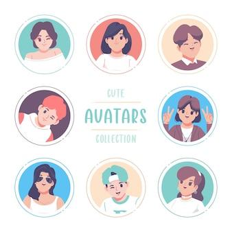 Handgezeichnetes avatar-sammlungs-vorlagendesign