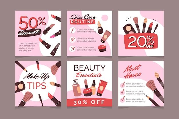 Handgezeichnetes beauty instagram posts pack