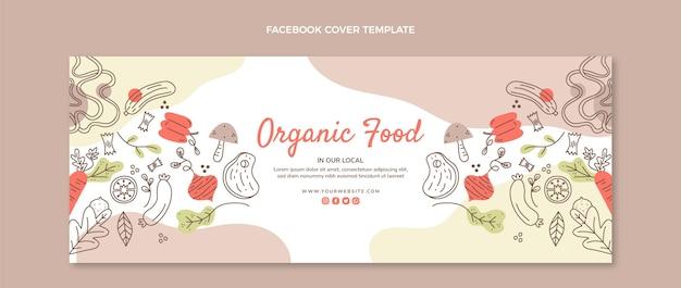 Handgezeichnetes bio-lebensmittel-facebook-cover