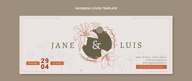 Handgezeichnetes blumenhochzeits-facebook-cover