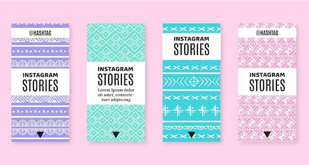Handgezeichnetes boho instagram story pack