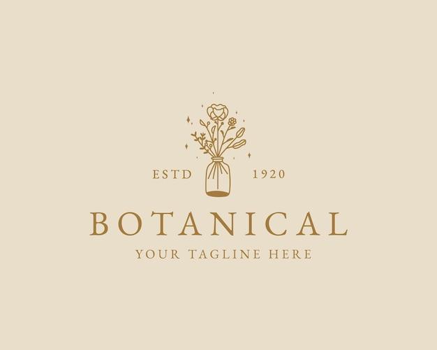 Handgezeichnetes botanisches logo der femininen schönheit mit minimalem blumentopf für das branding der haarpflege im spa-salon