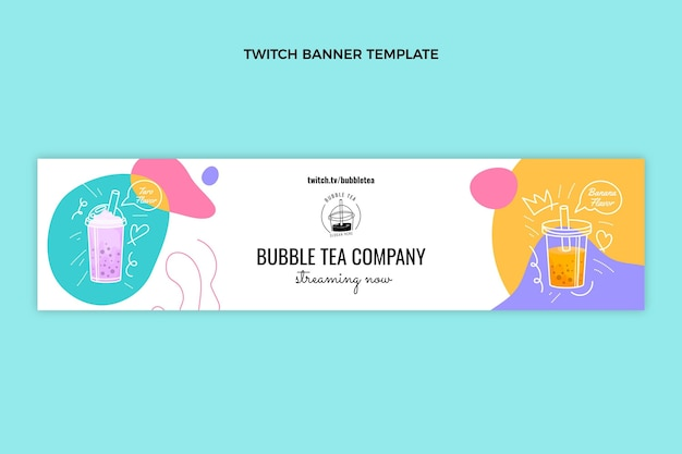 Handgezeichnetes bubble tea twitch banner