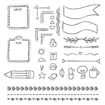 Handgezeichnetes bullet journal elements pack