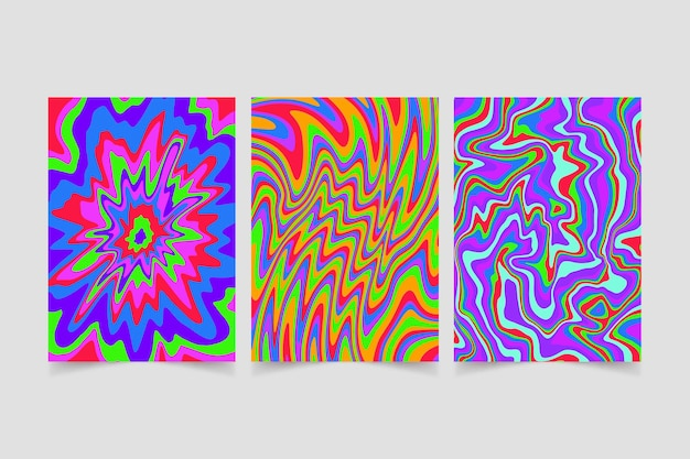 Handgezeichnetes buntes grooviges psychedelisches cover-set