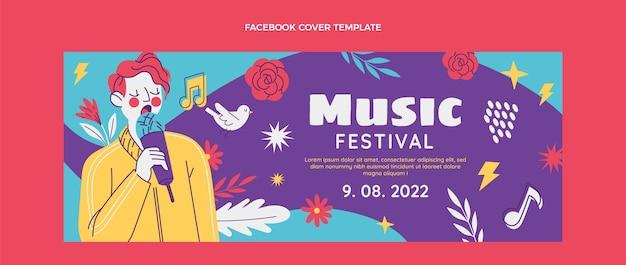 Handgezeichnetes buntes musikfestival-facebook-cover
