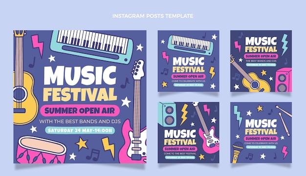 Handgezeichnetes buntes musikfestival ig post