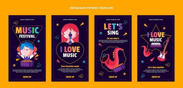 Handgezeichnetes buntes musikfestival ig