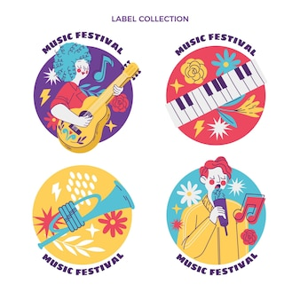 Handgezeichnetes buntes musikfestival-label und abzeichen