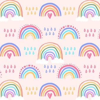 Handgezeichnetes buntes regenbogenmuster