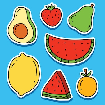 Handgezeichnetes cartoon-frucht-kawaii-gekritzel-aufkleberdesign