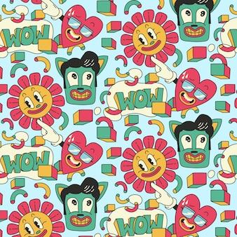 Handgezeichnetes cartoon-muster mit sonnenblume