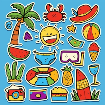 Handgezeichnetes cartoon-sommer-kawaii-gekritzel-aufkleberdesign