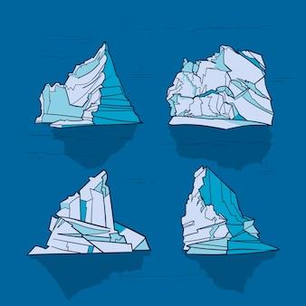 Handgezeichnetes design der eisbergsammlung