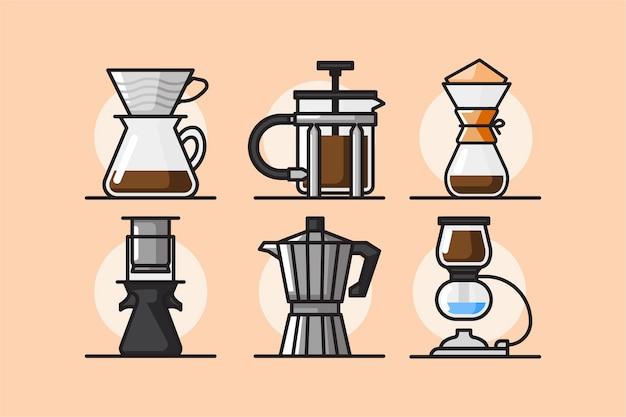 Handgezeichnetes design der kaffeebrühmethoden