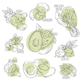 Handgezeichnetes design der superfood-sammlung