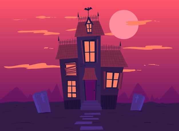 Handgezeichnetes design des halloween-hauses