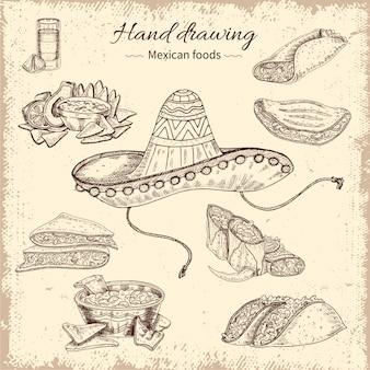 Handgezeichnetes design des mexikanischen essens