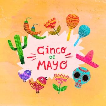 Handgezeichnetes design von cinco de mayo