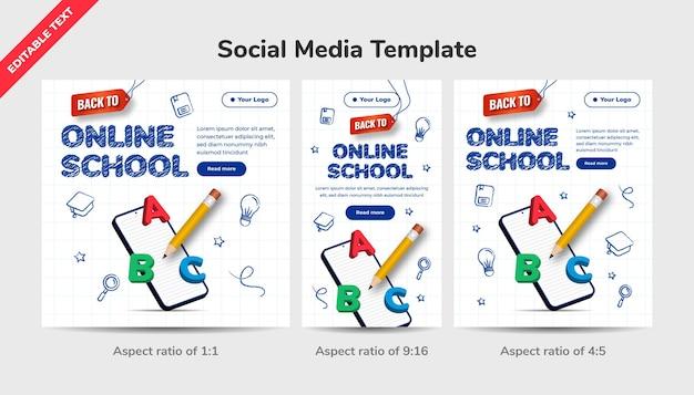 Handgezeichnetes design zurück zum schulkonzept mit bearbeitbarem texteffekt. social-media-vorlage online-schule mit 3d-bleistift- und buntstiftillustration.