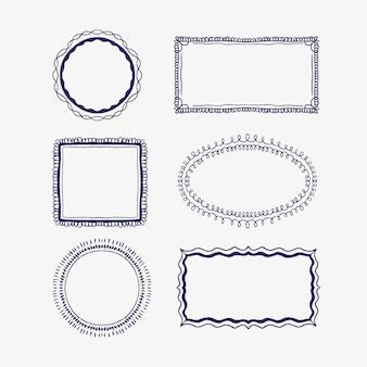 Handgezeichnetes doodle-rahmenpaket im stil