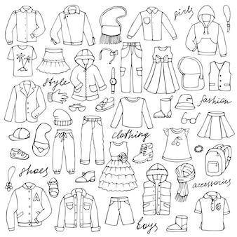 Handgezeichnetes doodle-set mit kindlicher kleidung und schriftzug für hintergründe textildrucke