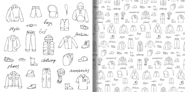 Handgezeichnetes doodle-set und nahtloses muster mit kindischer jungenkleidung und schriftzug
