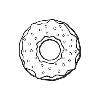Handgezeichnetes doodle von donut mit glasur und pulver vektor-illustration