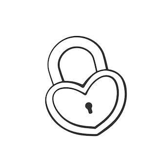 Handgezeichnetes doodle von vorhängeschloss in herzform cartoon-skizze vektor-illustration