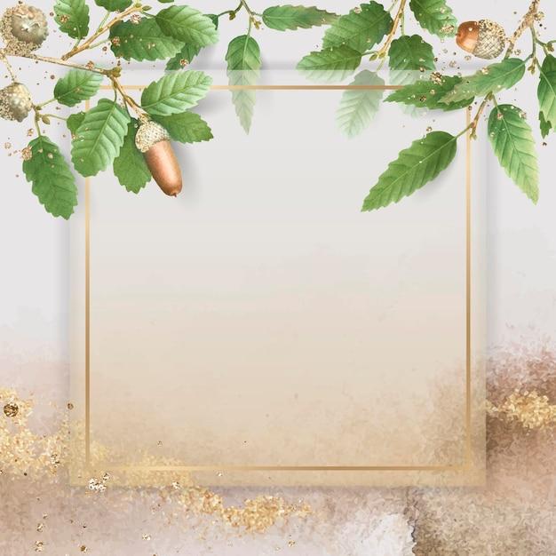 Handgezeichnetes eichenblattmuster mit quadratischem goldrahmen auf beigem hintergrund