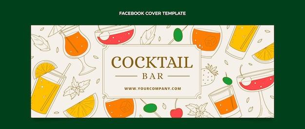 Handgezeichnetes facebook-cover der cocktailbar