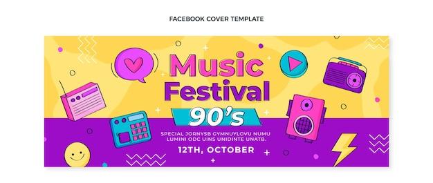 Handgezeichnetes facebook-cover des musikfestivals der 90er jahre