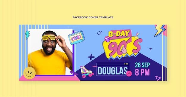 Handgezeichnetes facebook-cover zum geburtstag der 90er jahre