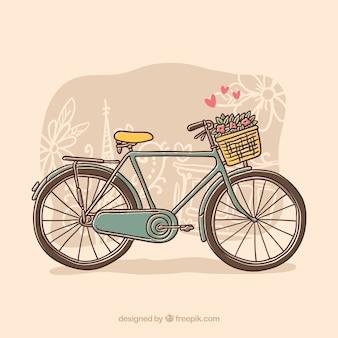 Handgezeichnetes fahrrad mit blumen und herzen